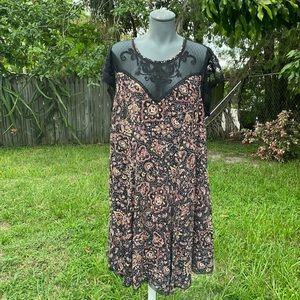 Torrid Floral Print with Lace Midi Dress Size 2X